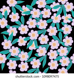 pattern from decorative naive flowers on a white background.
