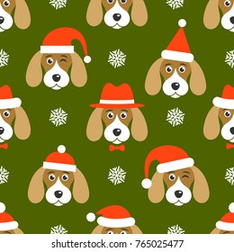 Pattern with dogs with Santa hats on green background. Raster version
