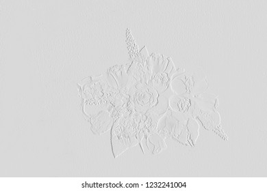 Pattern of embossed flower on background light grey can be use as wallpaper ,card background