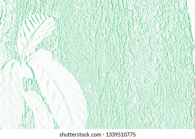 Pattern of embossed green wooden and leaves background  can be use as wall paper ,paper note and useful card