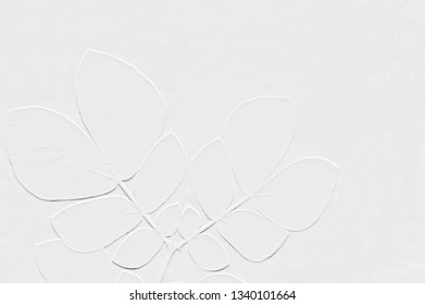 Pattern of embossed leaves with background light grey
