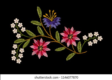 Pattern for embroidered satin stitch wavy sprig with pink- red and purple cornflowers and  white flowers on black background
