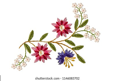 Pattern for embroidered satin stitch wavy sprig with pink- red and purple cornflowers and  white flowers on white background