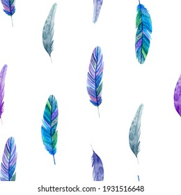 pattern with feathers on a light background