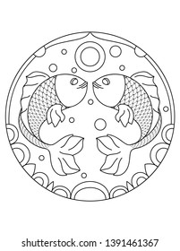 Pattern with fish. Illustration with a fish. Mandala with an animal. Fish in a circular frame. Coloring page for kids and adults.