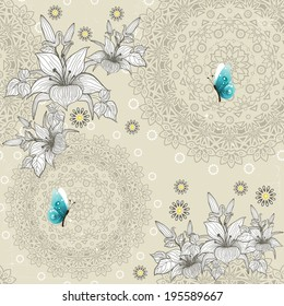 Pattern floral geometric with butterfly light background seamless
