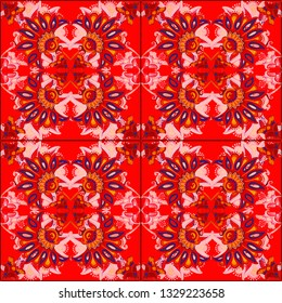 A pattern of flowers and curls in Indian style kalamkari on a red background for a festive vintage or oriental design. Kalamkari seamless pattern, background