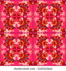 A pattern of flowers and curls in Indian style kalamkari on a pink background for a festive vintage or oriental design. Kalamkari seamless pattern, background