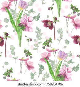 Pattern with flowers: tulip, anemone, eucalyptus and hellebore, watercolor pattern