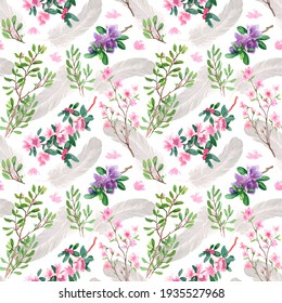 A pattern of flowers, twigs and feathers. Watercolour. The images are hand-drawn and isolated on a white background.