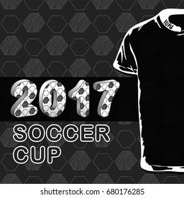 Pattern for football championship with t-shirt. A hand drawn soccer ball pattern. 2017 cup