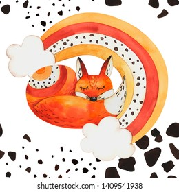 Pattern fox and rainbow on isolated white background, watercolor hand drawing, pattern on isolated white background