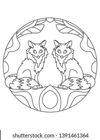 Pattern with foxes. Illustration with a fox. Mandala with an animal. Predator in a circular frame. Coloring page for kids and adults.