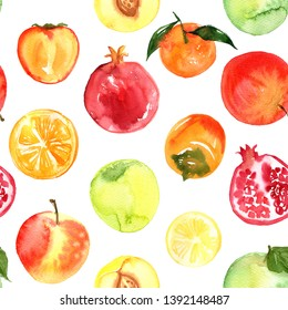 Pattern of fruit painted with watercolor on a white background. Orange, orange, mandarin, pomegranate, berries. A colored sketch of fruits.