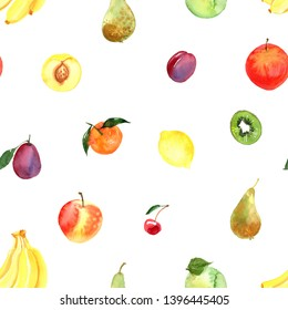 Pattern of fruit painted with watercolor on a white background. Pear, mandarin, apples, plums, peach. A colored sketch of fruits.