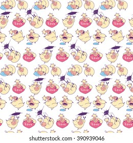 pattern Funny sheep on white background