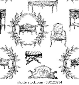 Pattern with furniture from rococo style