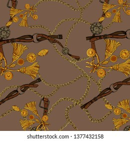 pattern with golden chains and ropes, braid, straps, golden, belt. Background for fabric design