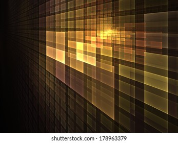 Pattern of golden light � abstract illustration for subjects such as computing & technology