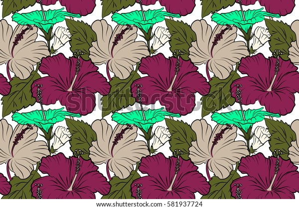 Pattern in green and purple colors with tropic summertime motif may be used as texture, wrapping paper, textile design. Raster seamless pattern of tropical hibiscus flowers, dense jungle. Hand painted
