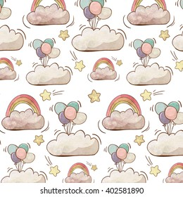 Pattern with hand drawing clouds, rainbows, balloons and stars. Made in watercolor style