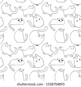Pattern with hand drawn cute and kawaii cats on a white background