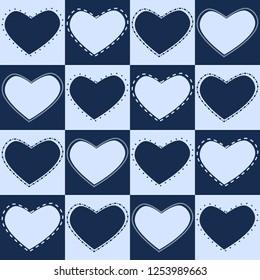 Pattern hearts in blue