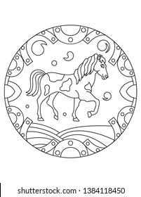 Pattern with a horse. Illustration with a wild horse. Mandala with an animal.  Farm horse in a circular frame. Coloring page for kids and adults.