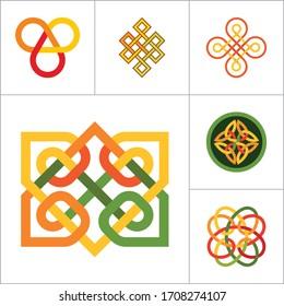 Pattern Icon Set. Hexagon Element Infinite Knot Traditional Knot Chinese Amulet Round Pattern Creative Pattern Square Eternal Knot Decorative Element Auspicious Symbol Endless