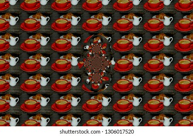 pattern with the image of a red ceramic Cup with coffee, white milkman and croissant