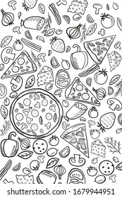 Pattern Italian food, wallpaper, background for cafe, restaurant, decoration, pizza, pasta, pepper, sausage, salami, strawberry, onion, olives, cheese, tomato, garlic, food.