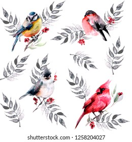 Pattern with leaves, branches, birds-cardinal, bullfinch, titmouse