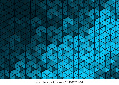 Pattern of many repeating hexagons made of shiny triangles. Geometric three dimensional pattern. 3d illustration.