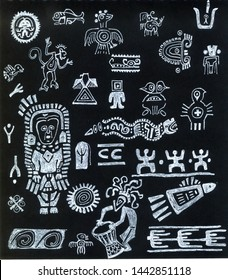 pattern of Maya paintings with people, birds, animals and other icons drawn by white liner on a black background. Texture with ancient rock paintings.Printing for fabric and textiles.