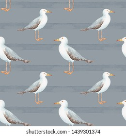 pattern in nautical style bird gull on a blue background