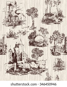 Pattern with old castles in toile de jouy style