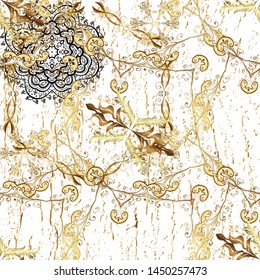 Pattern on beige and white colors with golden elements. Classic vintage background. Traditional orient ornament. Classic golden pattern.