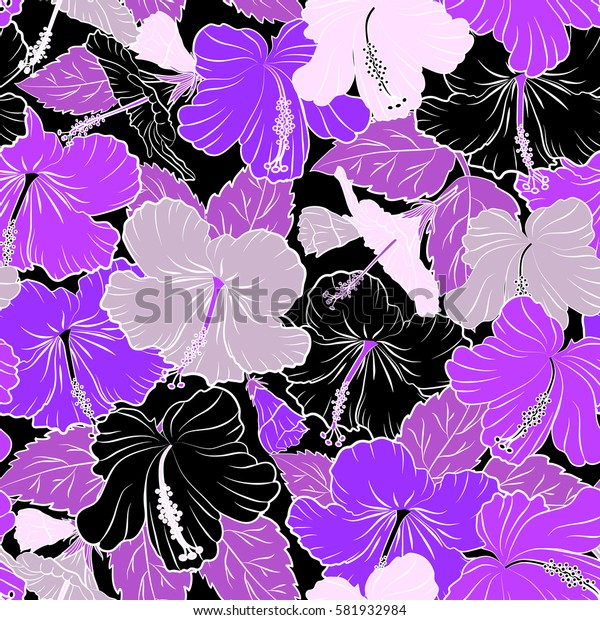 Pattern on a black background in black and violet colors. Vintage seamless tropical hibiscus flowers.