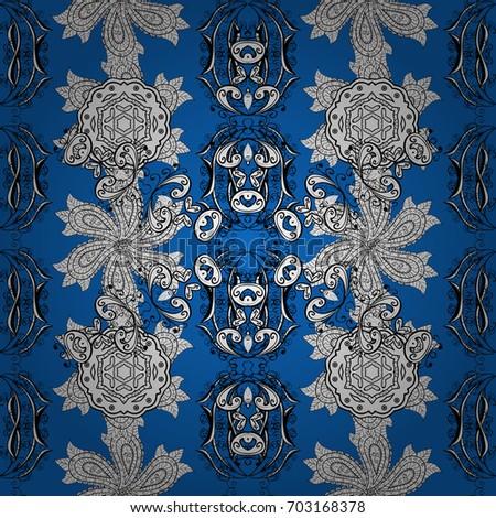 Pattern On Blue Background White Mehndi Stock Illustration Royalty