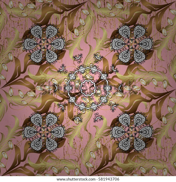 Pattern on pink background with golden elements. Golden pattern. Oriental ornament.