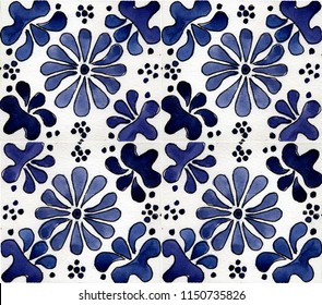 The pattern is painted in watercolor. Moroccan tiles. Interior details. Pattern