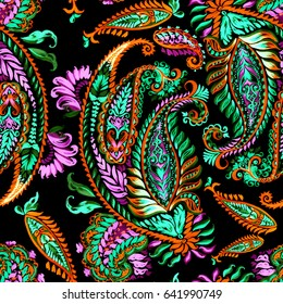 Pattern paisley trendy painting watercolor illustrations hand painting romantic floral ornament tradition style and color neon. Beautiful artwork design for linen textile backgrounds.