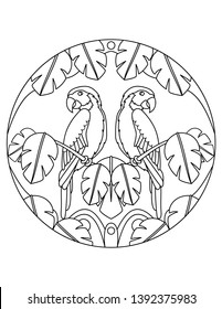 Pattern with parrots. Illustration with a parrot. Mandala with an animal. Parrot in a circular frame. Coloring page for kids and adults.