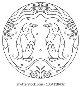 Pattern with penguins. Illustration with a  penguin. Mandala with an animal.  Penguin  in a circular frame. Coloring page for kids and adults.