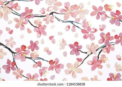 pattern pink flowers japanese cherry blossoms texture background. asian simple ornament