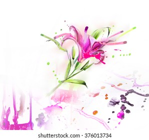 pattern, pink lily on a white background with leaves  drawing water color paints and crayons, crayon, paint drops background texture