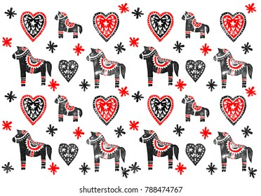 Pattern in Scandinavian style with horses and hearts