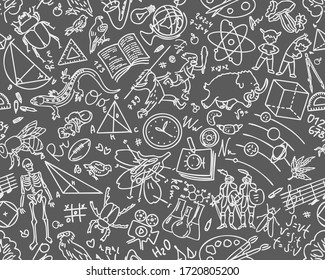 Pattern with school elements.  Back to school seamless pattern with hand-drawn doodles. Sketch background element  illustration. Gray background, white graphics.