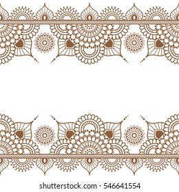 Pattern seamless brown henna border elements in Indian mehndi style for tattoo or card isolated on white background. illustration