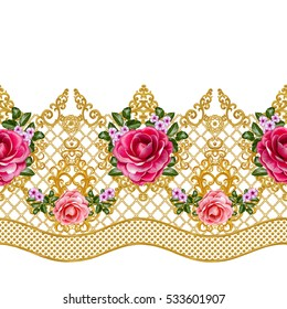 Pattern, seamless, floral border.Garland of flowers. Beautiful bright pink rose, camellia, buds, leaves, rough cloth, canvas. Golden curls, shiny tracery weave. Vintage old background.